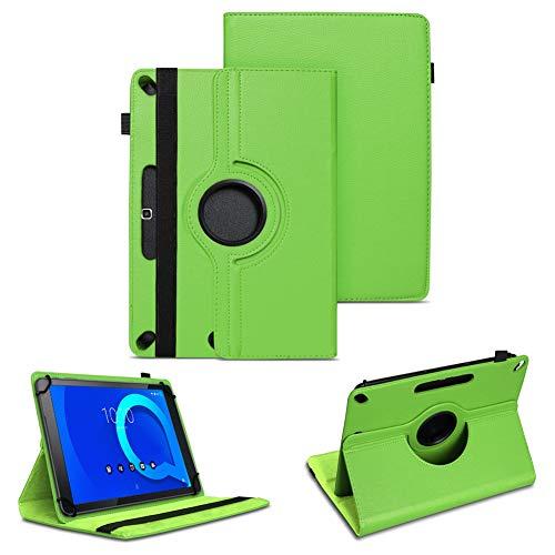 NAUC Tablet Tasche kompatibel für Alcatel 3T 10 Zoll Schutzhülle Universal Kunst-Leder Hülle Standfunktion 360 Drehbar Cover Hülle, Farben:Grün