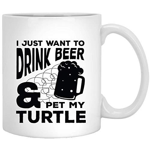 Voglio solo bere birra e animali La mia tartaruga Funny Animal Gifts Tazza bianca