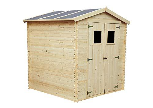 TIMBELA Holzhaus Gartenhaus M343 - Gartenschuppen Holz B216xL206xH218 cm/ 3.53 m2 Lagerschuppen für Garten - Fahrrad Schuppen - Wasserfestes Dach