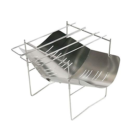 Great Price! SCYMX Mini Stainless Steel Barbecue Camping Stove Cooking Rack Foldable Charcoal BBQ Gr...
