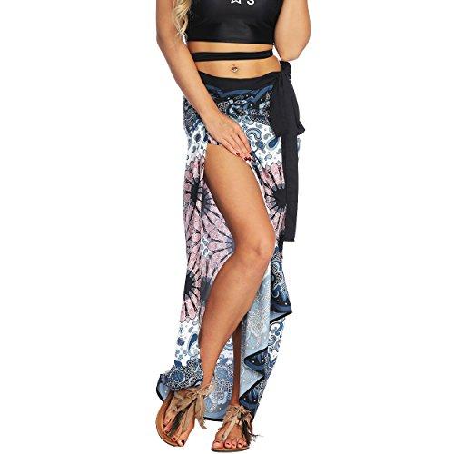 Nuofengkudu Damen Lange Hippie Rocke Luftige Boho Thai Muster Binden Taille Elegante Zigeuner Maxi Röcke Skirts Dunkelblau Floral