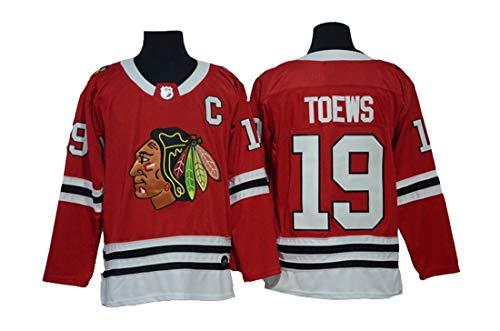 Gmjay Jonathan Toews # 19 Hockey Trikot Chicago Blackhawks Hockey Rot Genähte Buchstaben Zahlen NHL Langarm Hockey Trikot,red,XXL