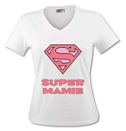 YONACREA - T-Shirt Col V Adulte - Superman Rose - Super Mamie - XL