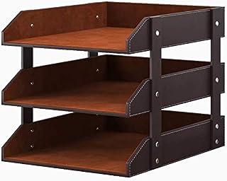 منظم مكتب من الجلد، حامل درج حروف قابل للتكديس من 3 طوابق لللوازم المكتبية، والورق، والمجلة، ومنظمة مكتبية مثالية لسطح المكتب