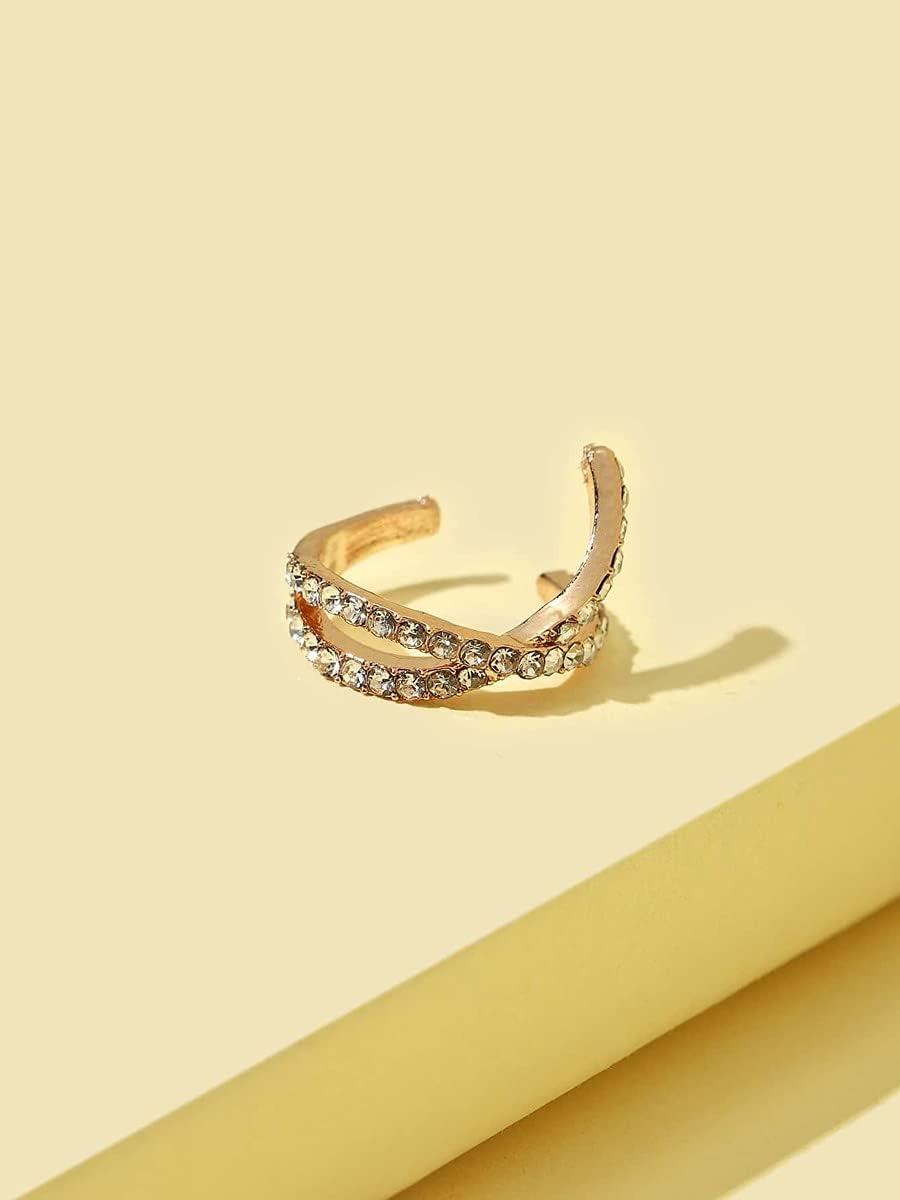 kgjsdf Hoop Earrings Rhinestone Ear Cuff (Color : Gold)