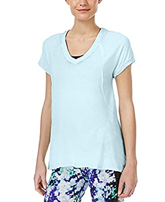 Calvin Klein Performance Womens Sheer V-Neck Tunic Top Blue M