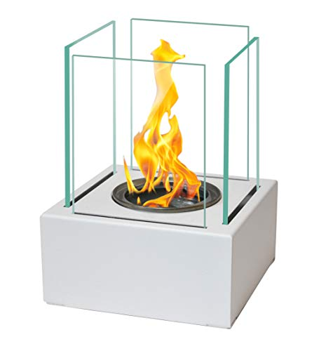 Bio Fire Ethanol Gel Burner Bowl Chimenea Burner Eco Patio Heater 13 x 13 cm (White)