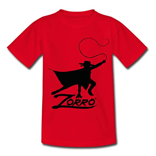 Zorro The Chronicles Silhouette Mit Peitsche Kinder T-Shirt, 110-116, Rot