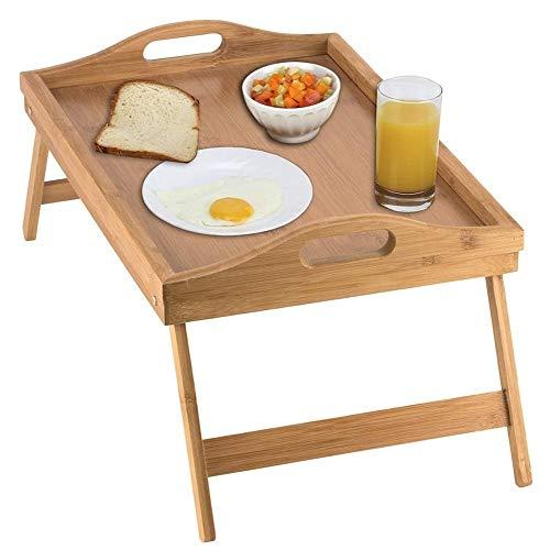 JONJUMP Mesa plegable de bambú para ordenador portátil, ajustable, para juegos y estudio, mesa de picnic, mesa de desayuno, para cama, hogar, muebles de oficina
