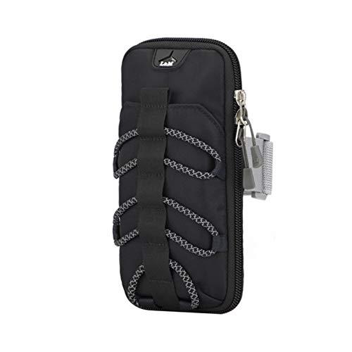 Ejecución de la bolsa de brazo de teléfono móvil Menores y mujeres reflectante Bolsa de teléfono móvil deportes Barra de brazo bolsa de muñeca Impermeable Ciclismo al aire libre Equipo deportivo-Black