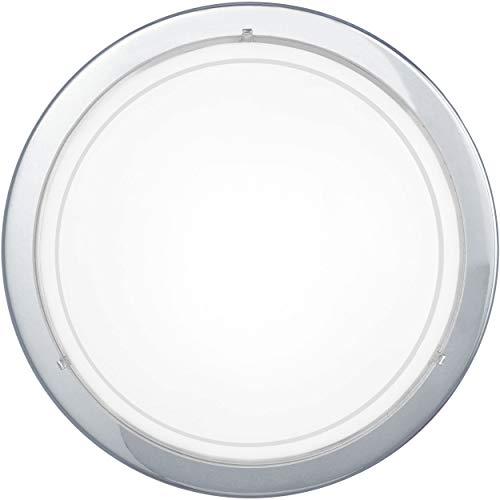 Plafón EGLO PLANET 1, aplique de pared con 1 bombilla, plafón de acero, color: cromo, vidrio: pintado de color blanco, casquillo: E27