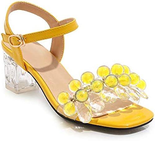 HommesGLTX Talon Aiguille Talons Hauts Sandales Grande Taille 48 Femmes Sandales Perles PVC été Chaussures Boucle Cristal Talons Chaussures De Soirée Couleurs Solides Robe Chaussures Femme