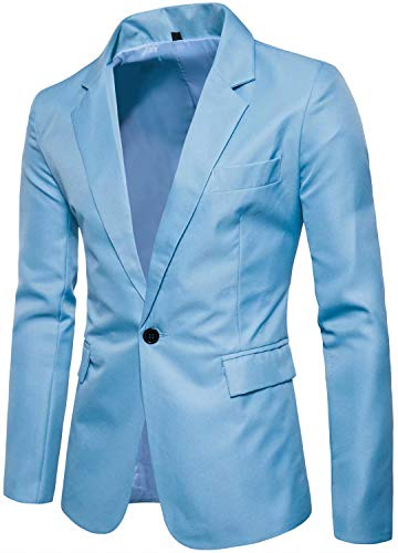 Men's Long Sleeves Peak Lapel Collar One Button Slim Fit Sport Coat Blazer, Light Blue, M/38R = Tag XL