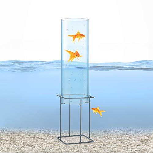 blumfeldt Skydive - Fischturm, Fischsäule, Fisch Dome, Goldfisch-Rohr, Fische, Teich-Gestaltung, Teich-Deko, Acrylglas, Wandstärke: 3 mm, Ø 20 cm, witterungsbeständig, transparent, 87 cm