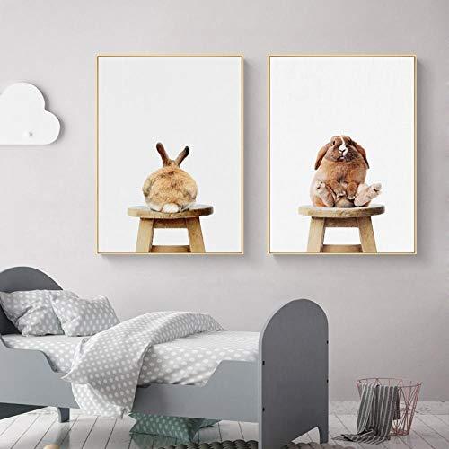 Non-branded Nettes Baby-Tier-Kaninchen-Schwanz-Leinwand-Kunstdruck und -Plakat, Kinderzimmer-Wald-Häschen-Leinwand-Malerei Nordic Wall Picture Home Decor 50x70cmx2 Kein Rahmen