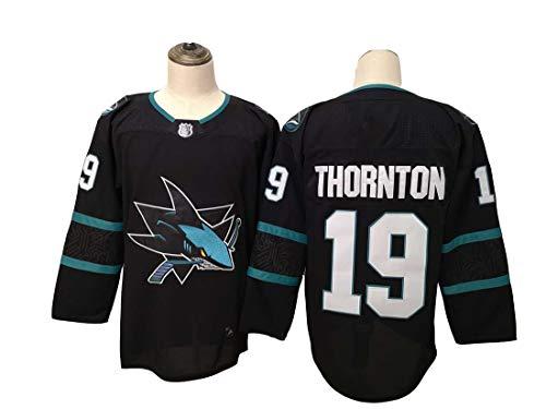 Gmjay Thornton # 19 Hockey Trikot San Jose Sharks Hockey Blau Genähte Buchstaben Zahlen NHL Langarm T-Shirt,Black,XXL