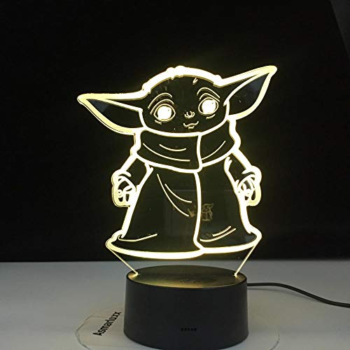 Lámpara De Ilusión 3D Led Night Light Star Wars Mini Yoda Baby Cartoon Meme Figura Para Regalos De Niños Decoración De Dormitorio Infantil Lámpara De Mesa