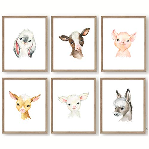 Farm Baby Animals Nursery Wall Decor - Set of 6 UNFRAMED Prints - 8x10 Posters - Bunny Cow Pig Lamb Donkey Goat