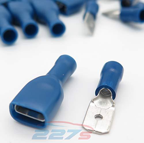 100x Cosse Electrique Plate 6.3 mm Bleue - 50x Male et 50x Femelles (Pour fils jusqu'à 1.1mm to 2.6mmà²) - LIVRAISON GRATUITE!