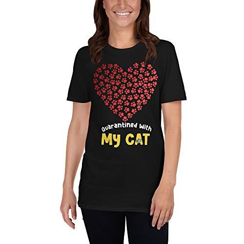 Quarantined with My cat - Cute Social Distancing Quarantine Short-Sleeve Unisex T-Shirt Black