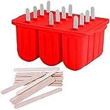 HelpCuisine® - Stampo per ghiaccioli, in silicone per uso alimentare, con 50 bastoncini, senza BPA, utensili da cucina, colore: rosso