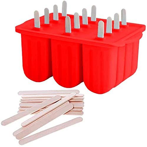 HelpCuisine Bereiter EIS am Stiel, EIS Formen aus Silikon für Kinder, 12 Formen und 50 stück Holzstäbschen, Rot
