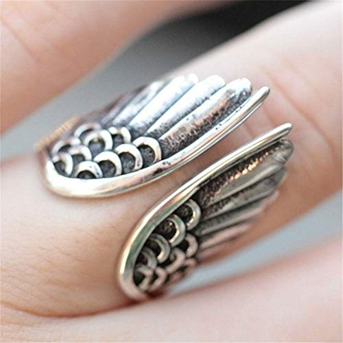 Feeyond Classic Retro Stainless Steel Men's Ring Fashion Angel Wings Classic Jewelry Accessories Adjustable Size