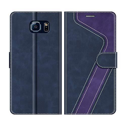 MOBESV Handyhülle für Samsung Galaxy S6 Hülle Leder, Samsung Galaxy S6 Klapphülle Handytasche Case für Samsung Galaxy S6 Handy Hüllen, Dunkelblau/Violett