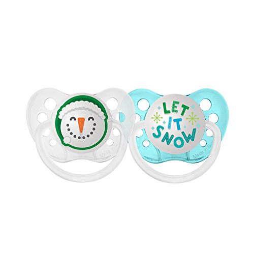 Ulubulu Holiday Pacifier, Christmas Snowman and Let it Snow, 6-18 Months