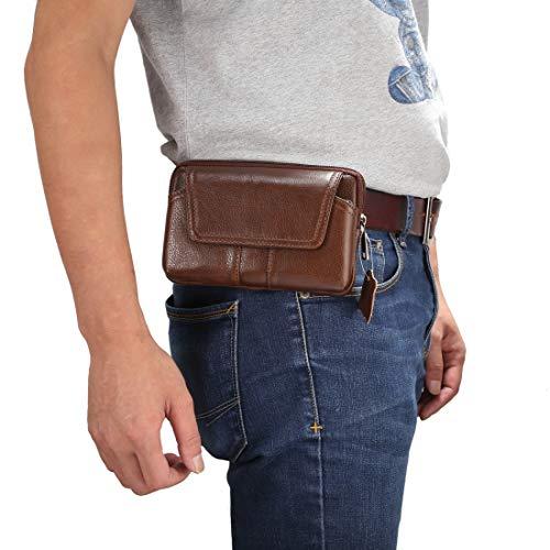 Xyamzhnn Paulcase de 5,2 pulgadas y debajo de los hombres de cuero genuino universal Caja de estilo horizontal Bolso de la cintura con el agujero de la correa, para iPhone, Samsung, Sony, Huawei, Meiz