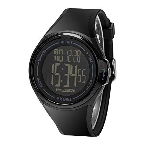 Clastyle Multifunción Reloj Digital Tactil Impermeable Relojes Hombre Deportivo LED Alarmas Multiples Relojes de Pulsera Negros