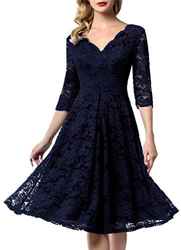 AONOUR 0056 Women's Vintage Floral Lace Bridesmaid Dress 3/4 Sleeve Wedding Party Midi Dress Navy 3XL