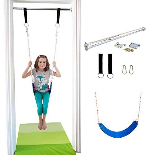 Image of DreamGYM Doorway Belt Swing - Indoor Swing for Kids - Blue