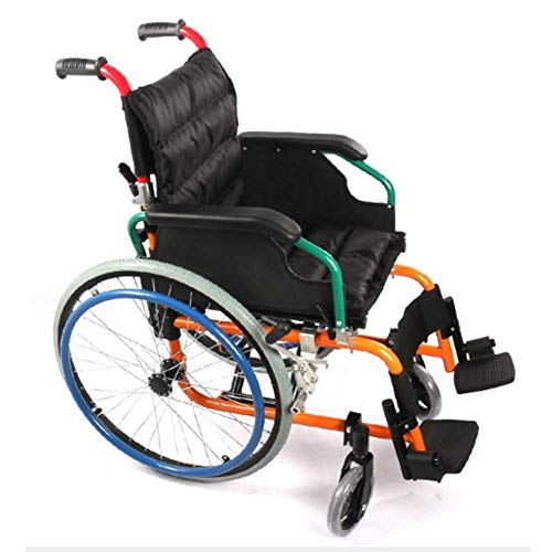 LIANGANAN Silla de rehabilitación médica, silla de ruedas, silla de ruedas plegable de peso ligero de conducción médica, aleación de aluminio de seguridad y comodidad con los amortiguadores, los niños