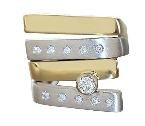 Hobra-Gold Anillo macizo de oro 585 bicolor de 11 g y brillantes de 0,25 quilates para mujer
