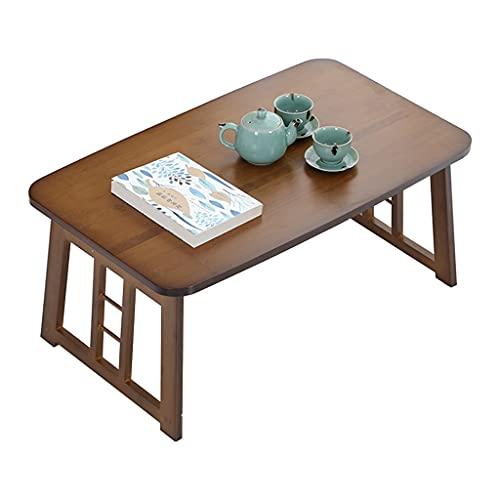 Mesa Baja Plegable Mesa de Centro Estable Mesa Decorativa Mesa de té Moderna Mesa de Tatami Mesa de té Zen para Sala de Estar Dormitorio Ventana de bahía (Color : Walnut Brown, Size : 80×50×36cm)