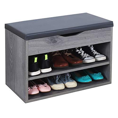 RICOO WM032-EH-A Banco Zapatero 60x42x30cm Armario Interior con Asiento Organizador Zapatos Mueble recibidor Perchero Entrada Madera Roble Gris