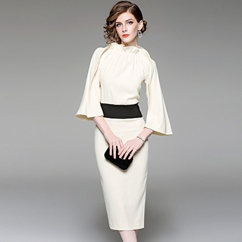 ZHUDJ _ Autumn Dress Dress Sleeve Pleated Temperament Slim Slim In Long Dresses