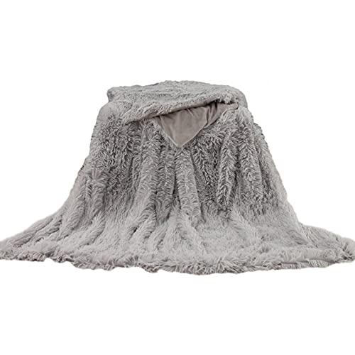 Manta de felpa sintética, ligera, rectangular, suave, suave, mullida, de pelo largo, lavable, manta decorativa para cama, silla, sofá (gris, tamaño: 160 x 130 cm)