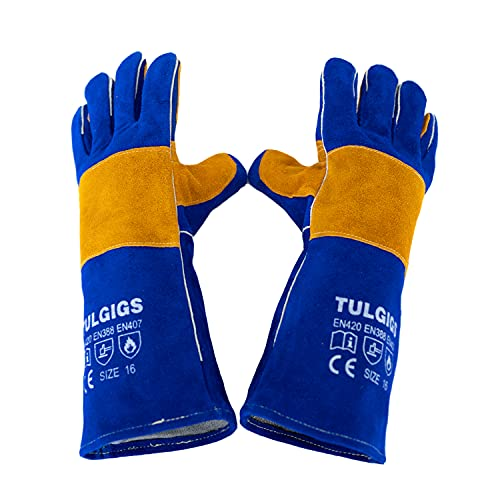 TULGIGS 16inches 932℉ Premium Leather Welding Gloves Gauntlets Extreme Heat & Abrasion Resistant BBQ Grilling Leather Welders Glove Mitts With Reinforced Thumb Strap (Blue)