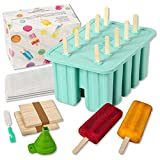 COTMILL Silicone Ice Popsicle Molds Set - Reusable Ice Pops Molds Maker - BPA Free Ice Popsicle Maker Mold, Funnel, Brush, Popsicle sticks & Bags - Great Summer Gift-Buy Original