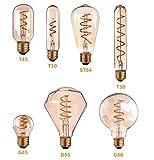 Bulbright Bombilla LED vintage Edison T30 de 3 W, luz decorativa vintage LED, base E27, luz blanca cálida, 2200 K, 220-240 V CA, para cafetería, bar, fiesta de interior