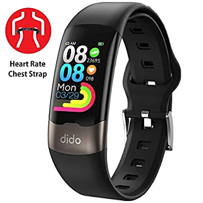 E-CG Monitor Watch, Fitness Activity Tracker with 2020 Version Heart Rate Monitor SpO2 Sleep GPS Step Tracker Wristband, IP67 Waterproof Sport Band for Women and Men (with Chest Strap)