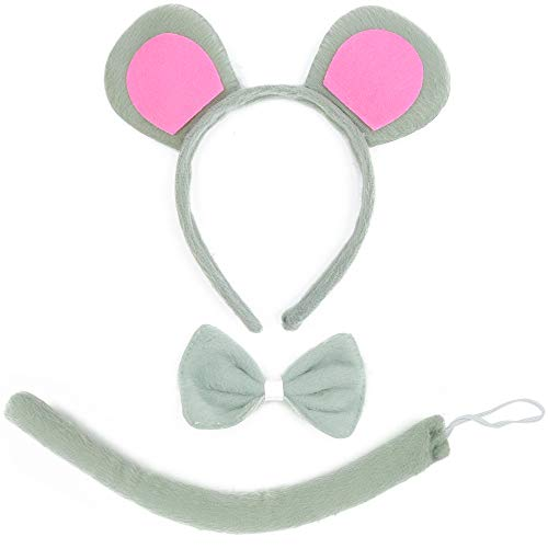 Skeleteen Mouse Costume Accessory Set - Grey and Pink Ears Headband, Bow Tie and Tail Accessories Set for Rat Costume for Toddlers and Kids
