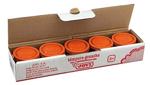 Jovi 200242 - Pack de 5 témperas escolares, 35 ml, color naranja