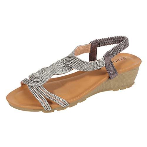 PAOLIAN Sandalias Mujer Verano 2020 Fiesta Plataforma Cuña Zapatos Mujer Tacon Bajo Elegantes Casual Baratas Sandalias de Mujer Vestir Comodas Bohemia Bonitas Punta Abierta