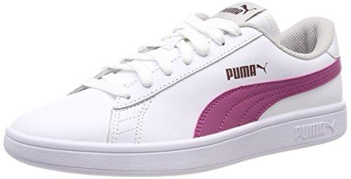 Puma Smash v2 L Jr, Scarpe da Ginnastica Basse Unisex-Bambini, Bianco White-Magenta Haze-Fig-Gray Violet, 36 EU