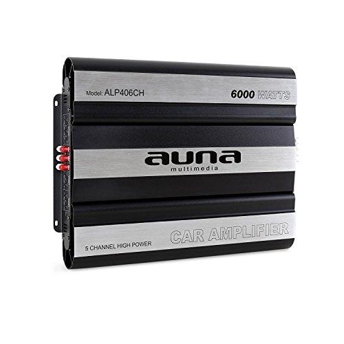 auna ALP406CH - Car HiFi Verstärker, 5-Kanal Auto-Endstufe, Car Amplifier, MOSFET, brückbar, 5/4/3/2-Kanal Betrieb, 6000 W Peak-Leistung, Hoch- / Tiefpassfilter, Aluminium, schwarz-Silber