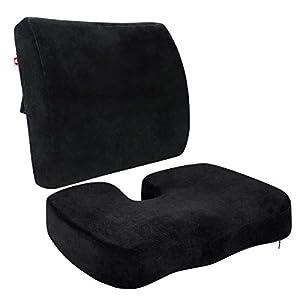 LoveHome coxis Ortopédica Espuma de asiento Cojín y respaldo para parte inferior de la espalda ciática, alivio de dolor…