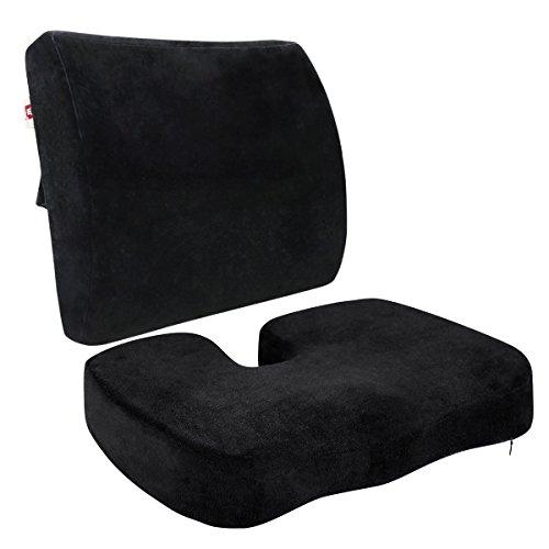 LoveHome coxis Ortopédica Espuma de asiento Cojín y respaldo para parte inferior de la espalda ciática, alivio de dolor pélvico para la conducción, oficina, color negro